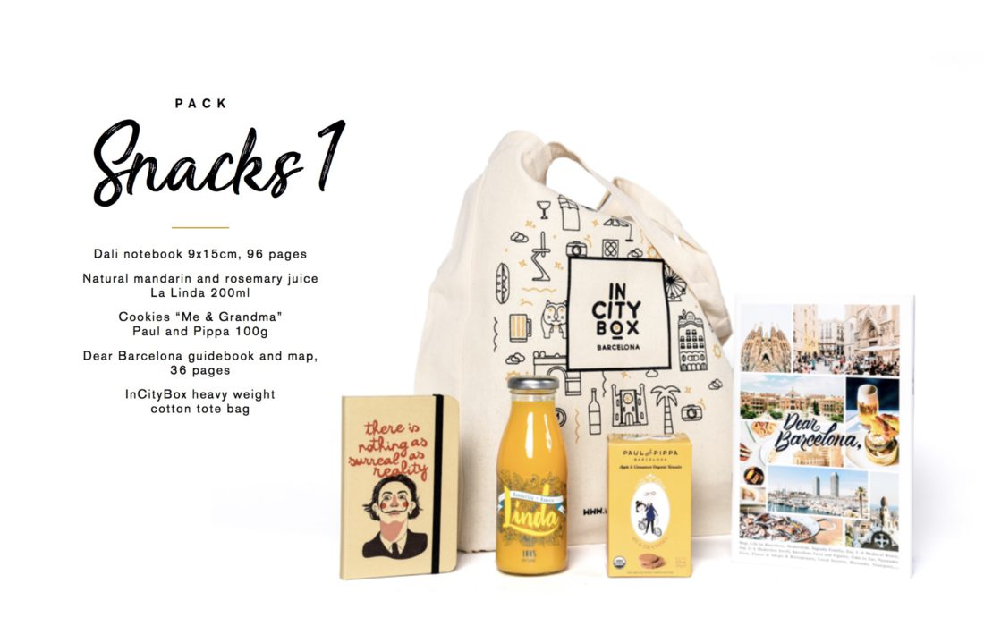 Business gift Barcelona Guidebook tote bag snack